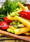 ヤングコーン☆枝豆☆トマトごまだれサラダ