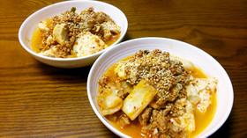 キムチ挽き肉豆腐♪