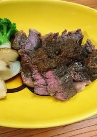 安~い牛肉で柔らかステーキ☆