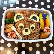 JKが作った「そぼろでくまさん弁当」の写真