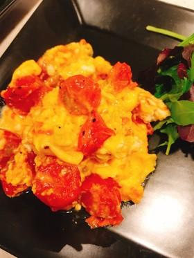5分でできる!ミニトマトと卵の炒め物