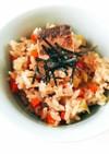 鯖の水煮缶♪親子で美味しい炊き込みご飯!