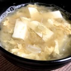 卵と玉ねぎと豆腐の味噌汁