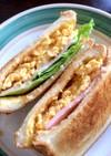 朝ごはん食パントーストのサンドイッチ♪