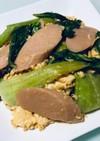 チンゲン菜魚肉ソーセージ卵のマヨポン炒め
