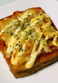 トースターで厚揚げキムチーズマヨ焼き