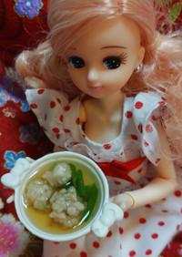 リカちゃんサイズ♡節約マグロ(つみれ汁)