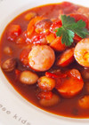 とら豆とソーセージのトマトスープ