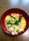 ニラと卵と焼き麩の味噌汁