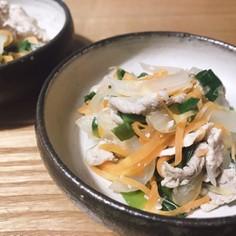 豚肉ニラ煮を鶏ガラと塩麹