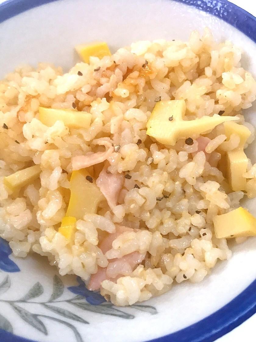 カルボナーラの筍炊き込みご飯