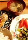 小松菜と春菊の炒めもの 献立