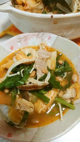 ★納豆とあさりのヘルシーチゲ鍋