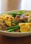 豚バラ肉と豆腐とニラのチャンプルー