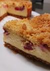 ルバーブのクランブルチーズケーキ