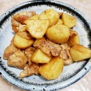 鶏もも肉と新ジャガの甘味噌炒め