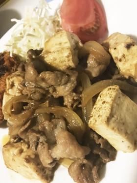 焼き豆腐と豚肉の焼肉タレ炒め