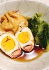 ほっとする♡青菜と卵&カニカマの巾着煮♪