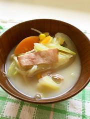 キャベツの豆乳味噌汁の写真