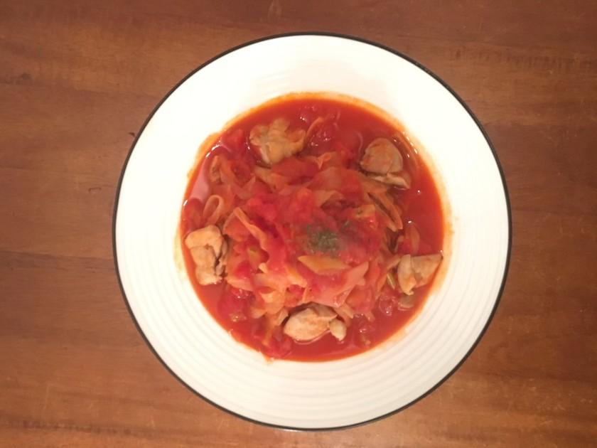 チキン南蛮風トマトスープパスタ