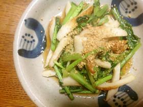 かぶの葉とちくわの醤油炒め