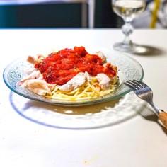 ゆで鶏とトマトの冷製パスタ♪