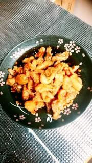 鶏皮とセセリの甘辛唐揚げ❤の写真