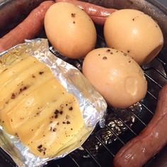 俺の簡単燻製、卵、チーズ、ウィンナー