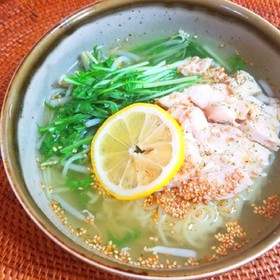 鶏と水菜の旨塩麺