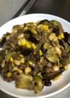 ナスとひき肉とサラダに豆炒めタイカレー味