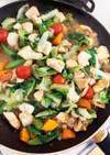 サラダ菜ミニトマト胸肉塩だれ炒め