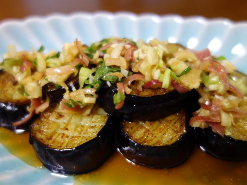 揚げ茄子の香味野菜たれ
