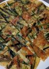 節約つまみニラ&ネギ青い部分チーズチヂミ