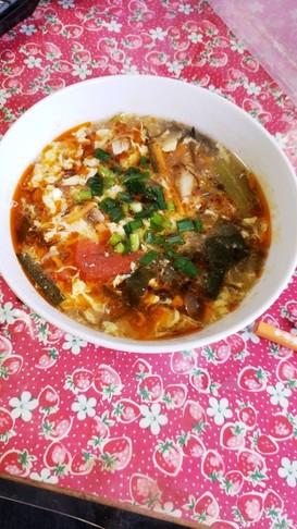 酸味控えめ酸辣湯スープ