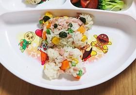 幼児食~簡単・カラフルチャーハン。