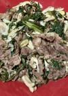 牛肉とわさび菜のガーリック炒め