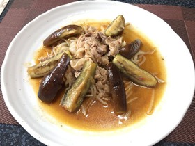 なすと豚肉の甘辛煮!(^^)!