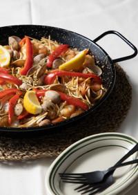 乾麺うどんで簡単「うどんパエリア」