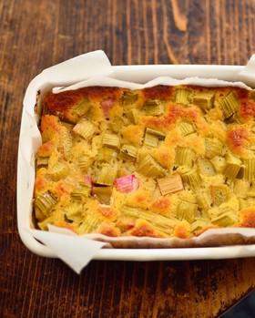 簡単美味!ルバーブの混ぜて焼くだけケーキ