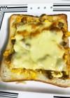 納豆、玉ねぎ チーズのサンドイッチ