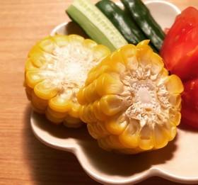 レンジで茹でトウモロコシ