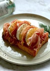 アールグレイ風味*桃モッツァレラトースト