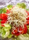 ゴマ香る♡レタスとトマトとしらすのサラダ