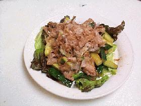 豚肉と四葉きゅうりの梅肉あえ炒め