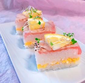 キハダマグロの押し寿司 炙りで!