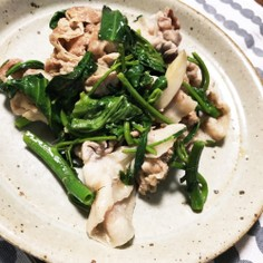 空芯菜と豚肉とエリンギの生姜炒め