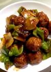 レトルト肉団子で酢豚風炒め物