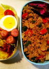 タンパク質多めのお弁当⑥ガパオ風肉炒め