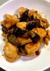 鶏胸肉とナスをネオチキンスパイスで炒めた