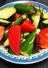簡単☆トマトときゅうりの塩昆ラー油和え